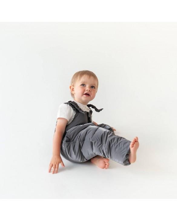 Комбинезон Бархат Пудра с серыми штанами